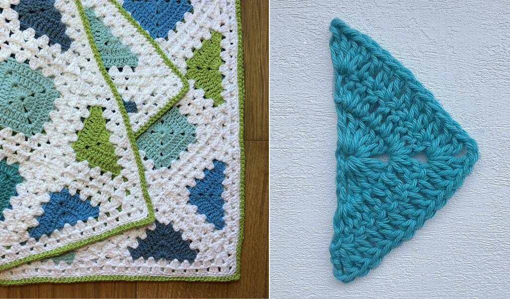 half granny square crochet motif turquoise free pattern