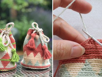 two small tapestry crochet bags and a close up of hands crocheting