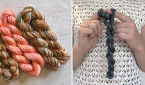 three mini skeins of handdyed yarn, image of woman winding mini skein