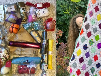 24 mini parcels containing handdyed yarn and a woman with long hair holding up a colourful patchwork of crocheted squares