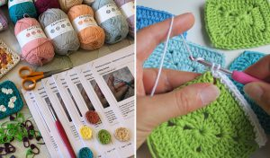 learn to crochet - class notes, hooks, yarn and hands crocheting