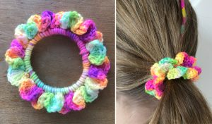 colourful hand crocheted hair scrunchie