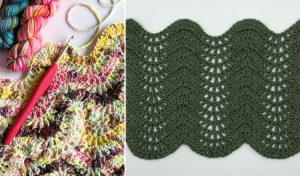 lacely crochet ripple stitch in progress with bright handdyed yarn