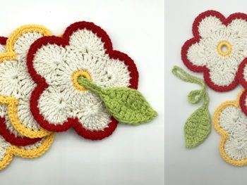 crochet cotton flower coasters with a green leaf toggle