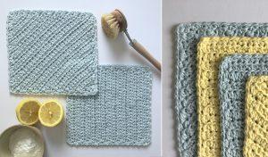 blue & yellow crochet dishcloths with lemons & natural brush