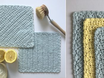 blue & yellow crochet dishcloths with lemons & natural brush