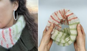 woman with hooped earrings wears fluffy cowl - striped with cream, green and red