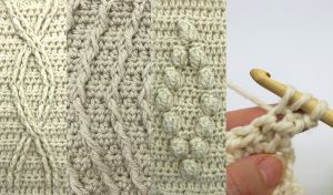 selection of images showing crocheted cables in natural wool