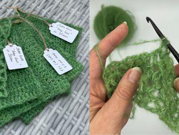 crochet swatches in baby suri alpaca yarn in lichen green by lottieknits