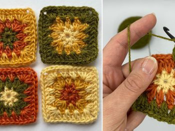 granny square variation - three coloured crochet motif with hands crocheting with green wool