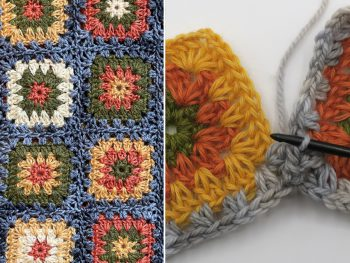 granny squares in yellow orange and green joined with a grey hdc border